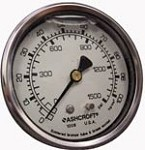 S/O Water Pressure Gauge 1500psi